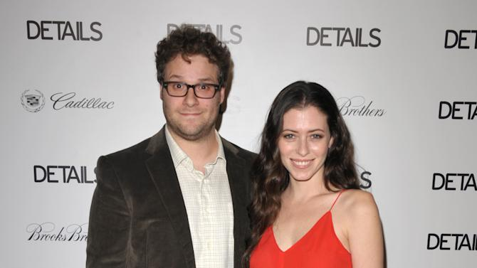 Seth Rogen, left, and Lauren Miller attend DETAILS Hollywood Mavericks Party on Thursday, Nov. 29, 2012 in Los Angeles. (Photo by John Shearer/Invision for Details Magazine/AP Images)