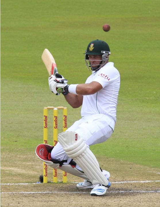 South Africa's Kallis ducks under a short ball during the fourth day of the second test cricket match against India in Durban
