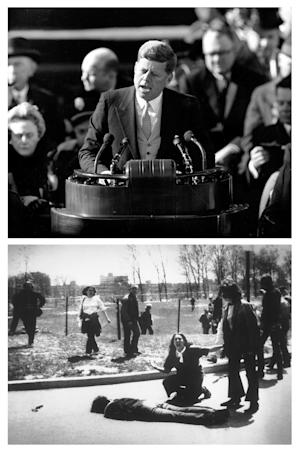 """This two picture combination shows above: in a  Jan. 20, 1961 file photo, U.S. President John F. Kennedy delivers his inaugural address after taking the oath of office at Capitol Hill in Washington, and below, in a  May 4, 1970 file photo, Mary Ann Vecchio gestures and screams as she kneels by the body of a student lying face down on the campus of Kent State University, Kent, Ohio. National Guardsmen had fired into a crowd of demonstrators, killing four. The definition of the era referred to as """"the 1960's"""" may be difficult to pinpoint. One person will assert the era began with Kennedy's inauguration (1961) and ended with the shootings at Kent State (1970). Another might count from Kennedy's assassination (1963) until Nixon's resignation (1974) or even until Saigon fell (1975). (AP Photos/File, John Filo, below)"""