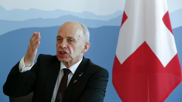 Swiss Defence Minister Maurer addresses a news conference after meeting his Swedish counterpart Enstroem in Bern