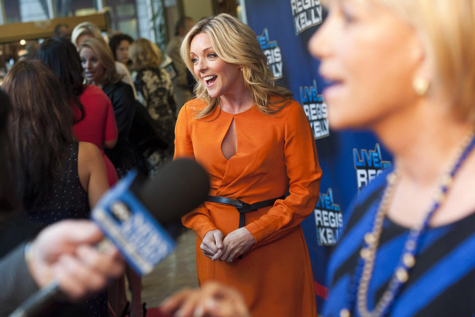 "Jane Krakowski arrives for Regis' farewell episode of ""Live! with Regis and Kelly"", in New York, Friday, Nov. 18, 2011. (AP Photo/Charles Sykes)"