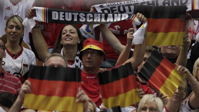 Germany supporters cheer during their third place match against France at Volleyball Men's World Championship in Katowice