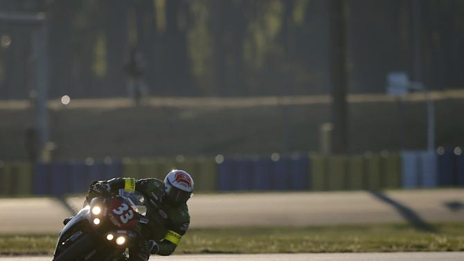 Kawasaki rider Jonchiere of France competes during the 38th Le Mans 24 Hours motorcycling endurance race in Le Mans