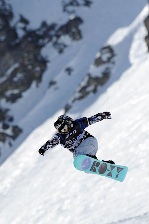 Norwegian Kjersti Oestgaard Buaas competes during  the Women's Snowboard Slopestyle final during the European Winter X-Games, on March 16, 2012 in the ski resort of Tignes, French Alps.   AFP PHOTO /