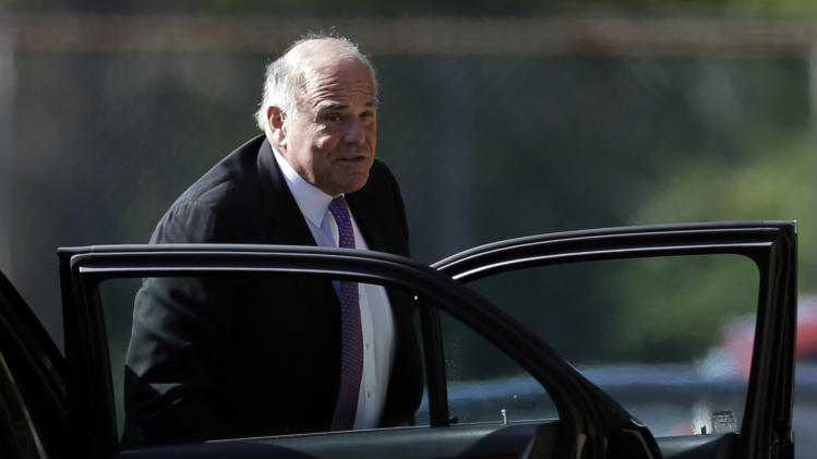 Former Pennsylvania Gov. Ed Rendell arrives at Har Zion Temple for former U.S. Sen. Arlen Specter's funeral, Tuesday, Oct. 16, 2012, in Penn Valley, Pa. Family members say Specter died Sunday of complications from non-Hodgkin lymphoma. He was 82. (AP Photo/Matt Rourke)