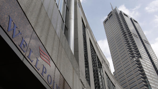 FILE- In this September, 9, 2009 file photo, the headquarters of Wellpoint is shown in downtown Indianapolis,  WellPoint is a health benefits company serving the needs of approximately 35 million medical members nationwide.  WellPoint Inc. announced Monday, July 9, 2012, it will spend about $4.46 billion for Medicaid coverage provider Amerigroup Corp. in a deal that more than doubles the health insurer's enrollment in a market segment poised for expansion. (AP Photo/Michael Conroy)