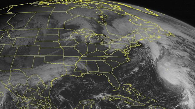 This NOAA satellite image taken Tuesday, October 16, 2012 at 10:45 AM EDT shows Hurricane Rafael with maximum sustained winds of 85 mph. A low pressure system over the Northeast with cloudy conditions and showers. Farther west, rain showers and cloudy conditions are over Texas. Farther north, showers and cloudy conditions are moving into the Great Lakes. (AP PHOTO/WEATHER UNDERGROUND)