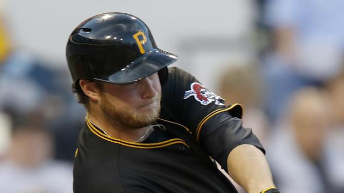 Pittsburgh Pirates starting pitcher Gerrit Cole gets a base hit in the third inning of a baseball game against the Milwaukee Brewers on Friday, June 28, 2013, in Pittsburgh. (AP Photo/Keith Srakocic)
