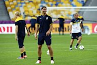 Sweden's national football player forward Zlatan Ibrahimovic attends a training session at the Olympic Stadium in Kiev during the Euro 2012 football championships