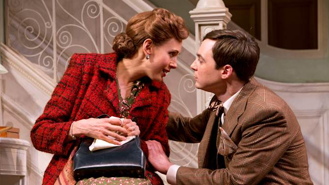 """This undated theater image released by Boneau/Bryan-Brown shows, Jim Parsons, right, and Jessica Hecht in a scene from """"Harvey,"""" in New York. (AP Photo/Boneau/Bryan-Brown, Joan Marcus)"""