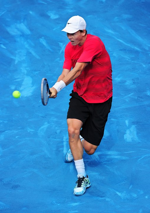   Tomas Berdych Of The Czech Republic Plays A Doublehanded Backhand To Juan Martin Del Potro Of Argentina In His Semi Getty Images