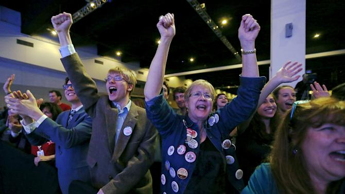 Supporters cheer as U.S. Democratic presidential candidate Sanders addresses the Minnesota Democratic Party's Humphrey-Mondale Dinner in St Paul