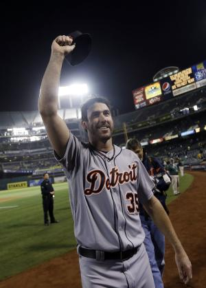 Detroit Tigers pitcher Justin Verlander celebrates after the Tigers beat the Oakland Athletics 3-0 to win Game 5 of an American League baseball division series in Oakland, Calif., Thursday, Oct. 10, 2013. (AP Photo/Marcio Jose Sanchez)