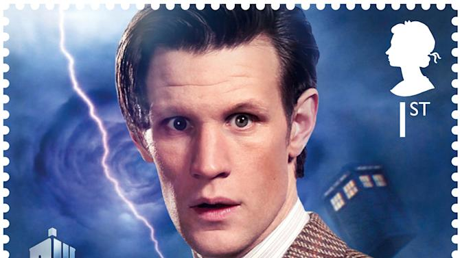 In this image released by the Royal Mail on Wednesday Jan. 3, 2013  shows a postage stamp with an image of the present  Dr. Who Matt Smith . Dr. Who _ who usually uses a police box for travel _ will be zooming through time and space on the edge of letters in 2013. Britain's Royal Mail is marking the 50th anniversary of ``Doctor Who,'' the science fiction program, with a series of stamps featuring each of the 11 actors who have played the title role.  Those featured include the present doctor, Matt Smith as well as past Time Lords such as David Tennant, Christopher Eccleston and the first doctor William Hartnell . (AP Photo/Royal Mail)