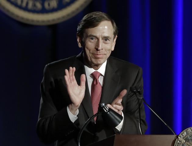 David H. Petraeus, former army general and head of the Central Intelligence Agency, speaks at the annual dinner for veterans and ROTC students at the University of Southern California, in downtown Los