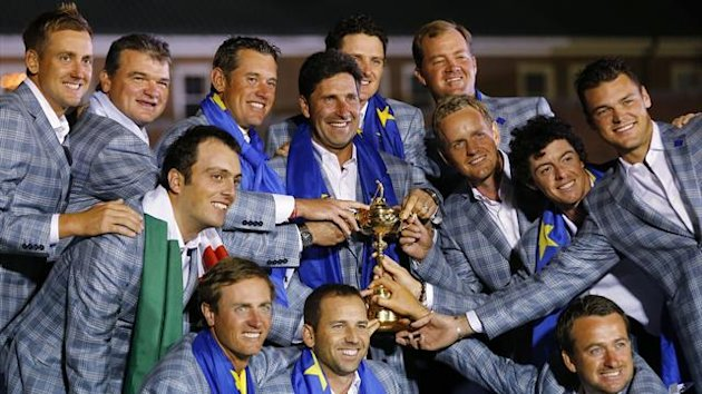 Nicolas Colsaerts, Sergio Garcia, and Graeme McDowell and (back row L-R) Ian Poulter, Paul Lawrie, Francesco Molinari, Lee Westwood, captain Jose Maria Olazabal, Justin Rose, Luke Donald , Peter Hanson, Rory McIlroy and Martin Kaymer pose with Ryder Cup