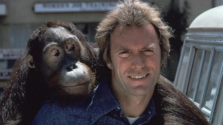 "FILE - In this 1978 file photo, Clint Eastwood and an orangutan named Clyde are shown on the set of the film ""Every Which Way But Loose.""  (AP Photo/file)"