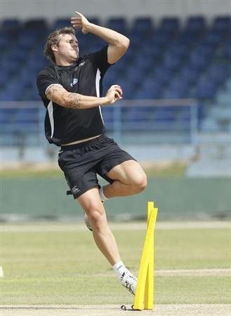 New Zealand's Bracewell bowls during a practice session ahead of their first test cricket match against Sri Lanka in Galle