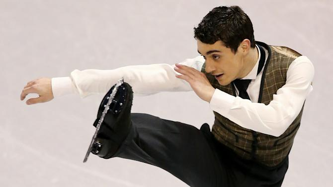 Javier Fernandez of Spain skates his long program in the Men Free Skating competition at the World Figure Skating Championships Friday, March 15, 2013 in London, Ontario. (AP Photo/The Canadian Press, Dave Chidley)