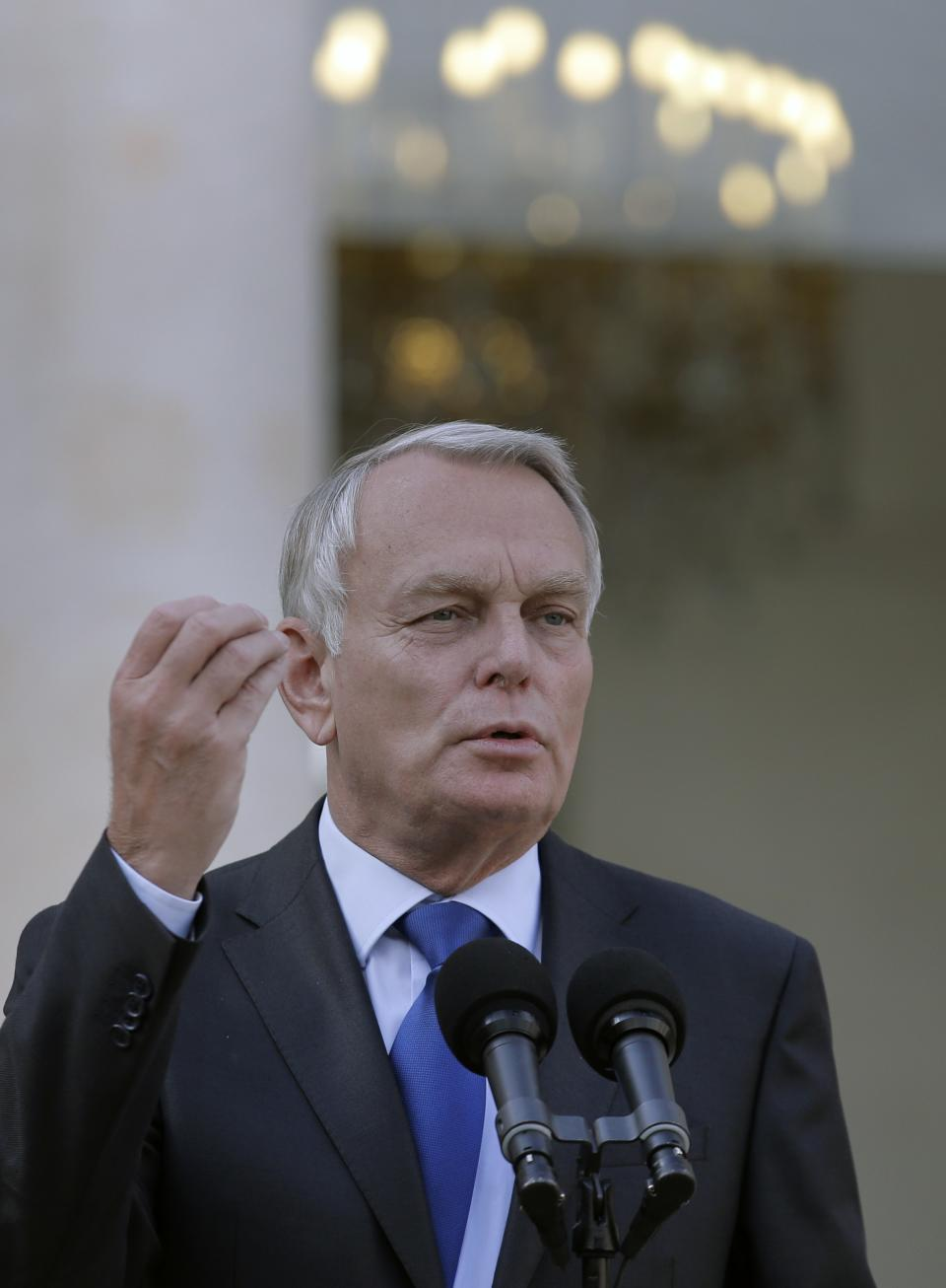 France's Prime Minister Jean-Marc Ayrault speaks to journalists after the weekly cabinet meeting at the Elysee Palace in Paris, Friday, Sept. 28, 2012. The French government aims to tackle the country's deficit and jumpstart its economy when it unveils its budget for next year on Friday. (AP Photo/Christophe Ena)