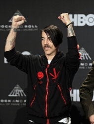 Red Hot Chili Peppers vocalist Anthony Kiedis appears in the press room before induction into the Rock and Roll Hall of Fame Friday, April 13, 2012, in Cleveland. (AP Photo/Amy Sancetta)