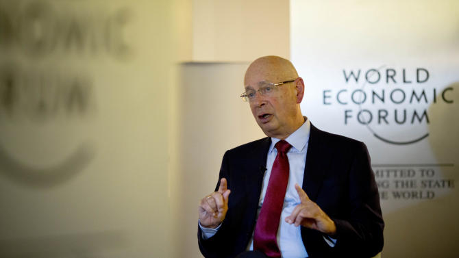 German Klaus Schwab, founder and president of the World Economic Forum, WEF, gestures during an interview with the Associated Press in Davos, Switzerland, Jan. 21, 2013. The world's financial and political elite will head this week to the SwissAlps for 2013's gathering of the World Economic Forum in Davos, with the global economy far less plagued by fear than it was last year. (AP Photo/Anja Niedringhaus)