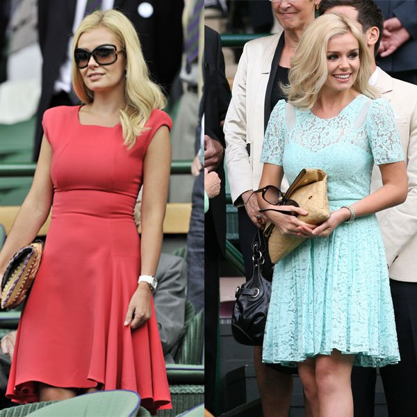 Katherine Jenkins at Wimbledon 2010 (left) and 2011 (right) © Rex