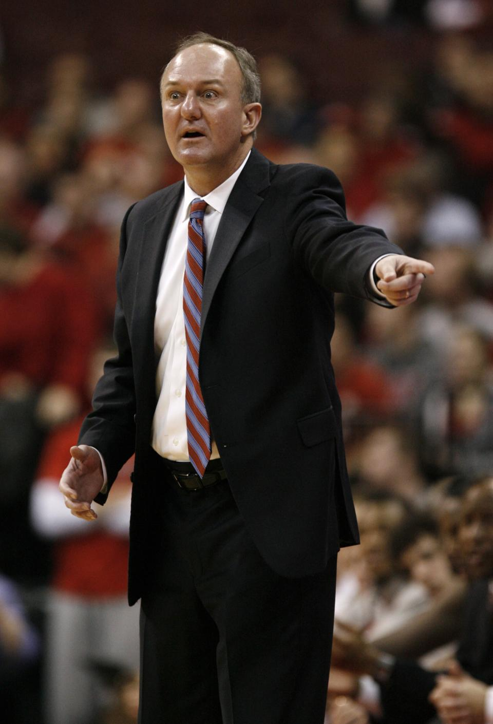 Ohio State coach Thad Matta reacts to a call during the first half of an NCAA college basketball game against UNC-Asheville in Columbus, Ohio, Saturday, Dec. 15, 2012. Ohio State won 90-72. (AP Photo/Paul Vernon)