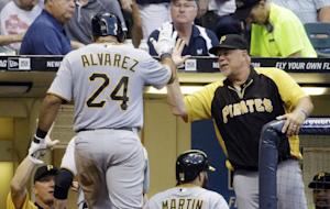 Alvarez homers twice, Pirates beat Brewers 10-2