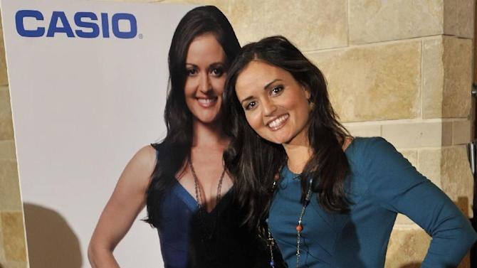 IMAGE DISTRIBUTED FOR CASIO - In this image released on Tuesday, April 23rd, 2013, Casio advocate Danica McKellar posed with a life-size cutout of herself at the National Council of Supervisors of Mathematics luncheon in Denver. (Photo by Jack Dempsey/Invision for Casio/AP Images)