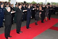 <p>The new cabinet of Paraguayan President Federico is sworn in during a ceremony in Asuncion. Paraguay's ousted president Fernando Lugo said Monday he would take his case to a summit of South American leaders this week as the country's Supreme Court rejected an appeal of his dismissal.</p>