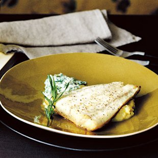 Halibut with Sorrel Sauce and Jerusalem Artichoke Puree: Recipes: Food
