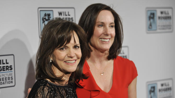 Actress Sally Field, left, poses with film producer and honoree Kathleen Kennedy at the Pioneer of the Year Dinner at CinemaCon 2013 at Caesars Palace on Wednesday, April 17, 2013 in Las Vegas. (Photo by Chris Pizzello/Invision/AP)