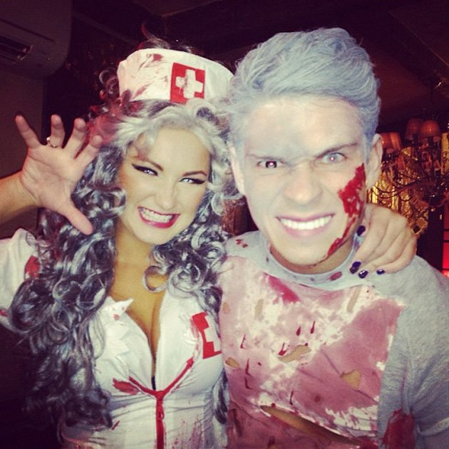 TOWIE's Sam Faiers and Joey Essex make one scary Halloween couple! Copyright [Sam Faiers]