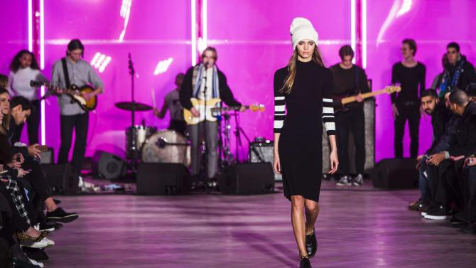 A model presents a creation from the Fall/Winter 2015 collection of Danish designer Mads Norgaard during the Copenhagen Fashion Week, in Copenhagen