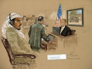 File picture of a July, 2008 sketch by courtroom artist Janet Hamlin shows defendant Salim Hamdan during his trial at Guantanamo Bay US Naval Base, in Cuba. A US court of appeals Thursday heard arguments in the case of Hamdan, Osama bin Laden's former personal driver, who is challenging his terror conviction even though he has been released