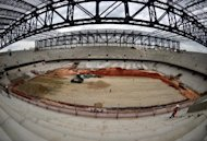 General view of the Arena da Baixada stadium under construction in Curitiba, Parana, Brazil, on December 14, 2013