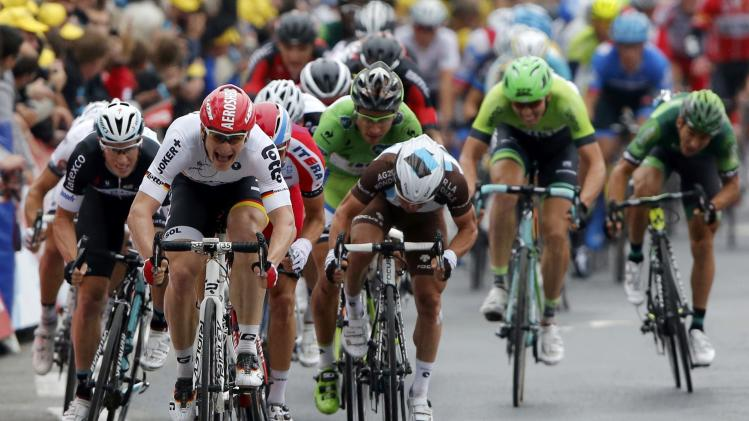 Lotto-Belisol team rider Greipel of Germany sprints to win the 194 km sixth stage of the Tour de France cycling race from Arras to Reims