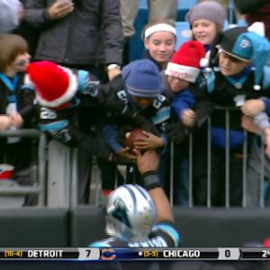 Kids struggle to share Carolina Panthers quarterback Cam Newton's touchdown ball