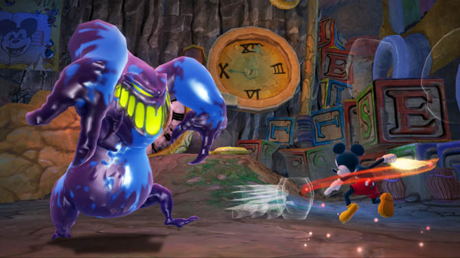 """FILE - This undated publicity file photo provided by Disney shows Mickey Mouse using a paintbrush to fight a monster in """"Epic Mickey 2: The Power of Two,"""" (Disney, for the Xbox 360, PlayStation 3, $59.99; Wii U, $54.99; Wii, $49.99). The interactive arm of the Walt Disney Co. announced Tuesday, Jan. 29, 2013, that it is closing Junction Point Studios. The Austin, Texas-based video game developer created 2010's """"Disney Epic Mickey"""" and its 2012 sequel """"Epic Mickey 2."""" (AP Photo/Disney)"""