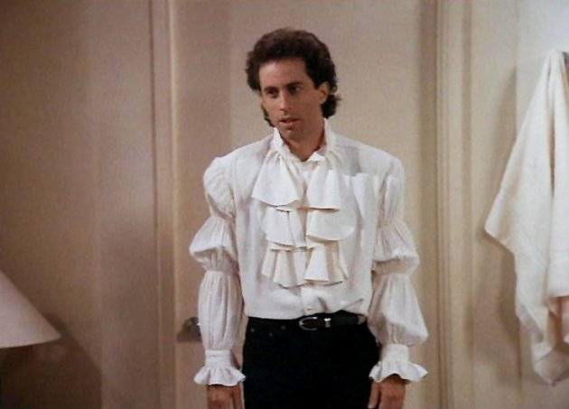 """The Puffy Shirt"" - Jerry is coerced into wearing a ridiculous ""puffy"" shirt designed by Kramer's girlfriend when he appears on the NBC News' ""Today"" with Bryant Gumbel. Seinfeld"