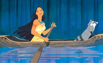 Pocahontas (speaking voice of Irene Bedard , singing voice of Judy Kuhn ) and Meeko in Disney's Pocahontas