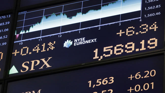 A board on the floor of the New York Stock Exchange Thursday, March 28, 2013 shows the closing number for the S&P 500 index.. The Standard & Poor's 500 index closed at a record high Thursday, beating the mark it set in October 2007. The S&P rose six points to 1,569, a gain of 0.4 percent, beating its previous record by four points. The index is still shy of its all-time trading high of 1,576. (AP Photo/Richard Drew)