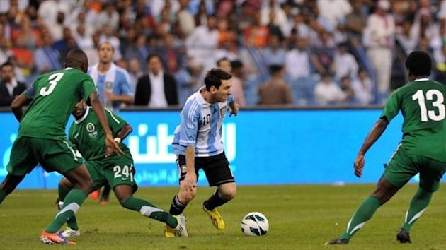 Argentina's Lionel Messi against Saudi Arabia (AFP)