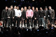 "This picture provided by Starpix shows members of 98 Degrees, Boyz II Men, and New Kids on the Block, during the announcement of ""The Package Tour,"" Tuesday, Jan. 22, 2013 in New York. The major summer tour will feature the three bands. (AP Photo/Starpix, Kristina Bumphrey)"