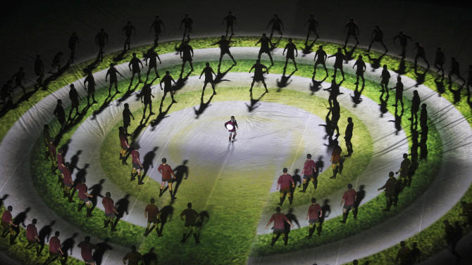 Performers during the opening ceremony for the Rugby World Cup in Auckland, New Zealand, Friday, Sept. 9, 2011. The New Zealand All Blacks will play Tonga in the opening game. (AP Photo/Dita Alangkara)