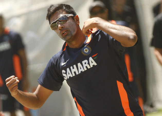 Indian bowler Ravi Ashwin practices ahea