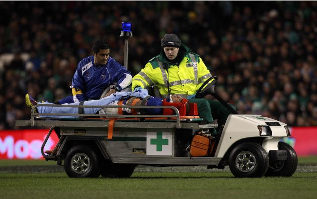 Samoa's Brando Vaaulu is taken from the pitch on a stretcher after receiving an injury against Ireland in the International rugby union match at Aviva stadium in Dublin