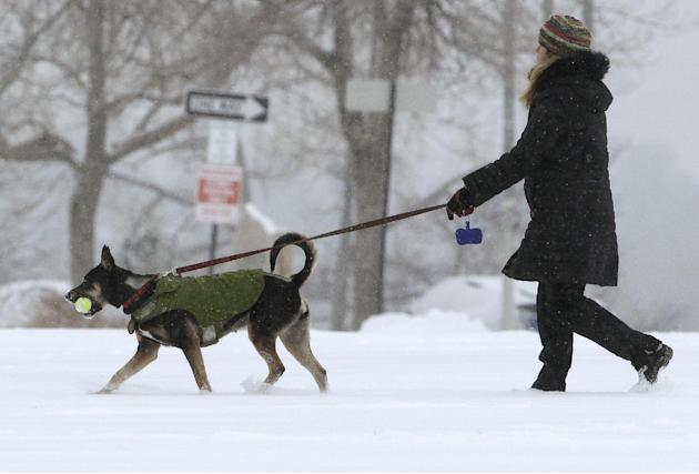 A woman walks her dog as a blizzard dropped snow over Boulder, Colo., Wednesday Dec. 19, 2012. A storm that has dumped more than a foot of snow in the Rocky Mountains is heading east and is forecast t