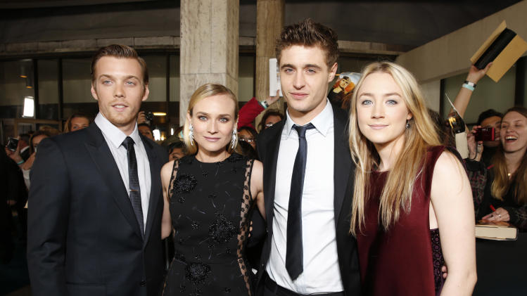 "Jake Abel, Diane Kruger, Max Irons and Saoirse Ronan arrive at the LA premiere of ""The Host"" at the ArcLight Hollywood on Tuesday, March 19, 2013 in Los Angeles. (Photo by Todd Williamson/Invision/AP)"